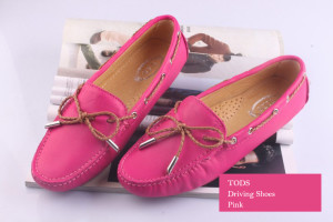2012 Tods Gommino Driving Shoes with Front Tie Pink 04